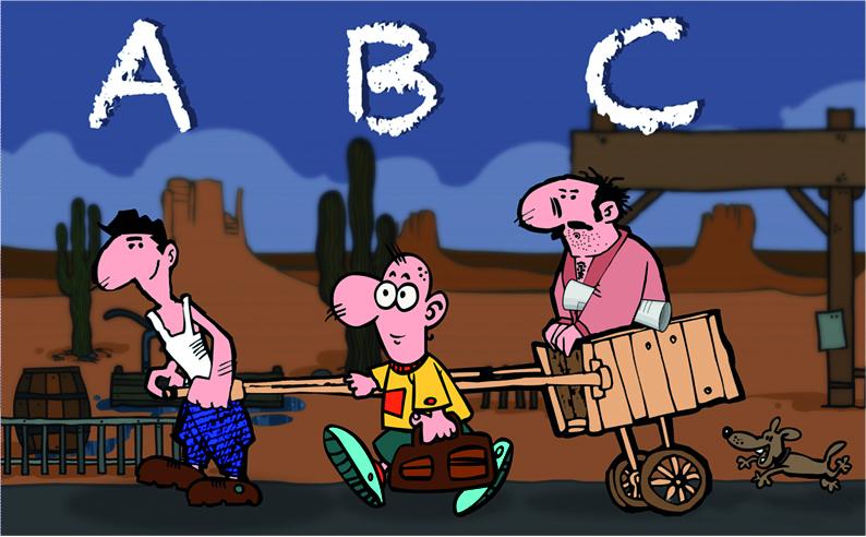 ABC-Analyse, A-Mitarbeiter zieht den Karren, B-Mitarbeiter geht nebenher