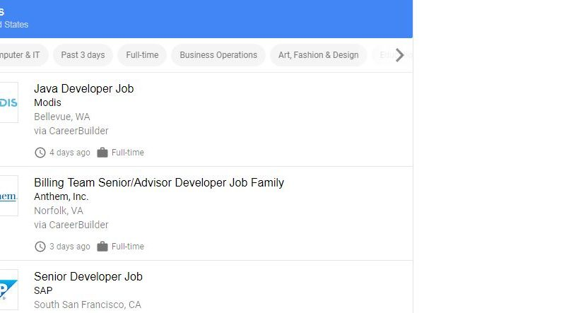 Jobbörse Google, Google for Jobs