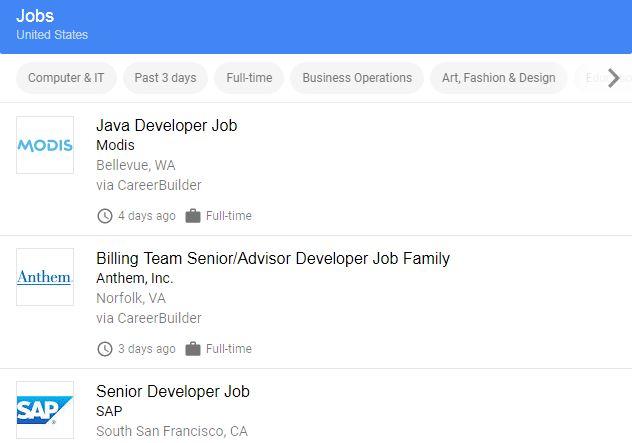 Google for Jobs - Jobbörse