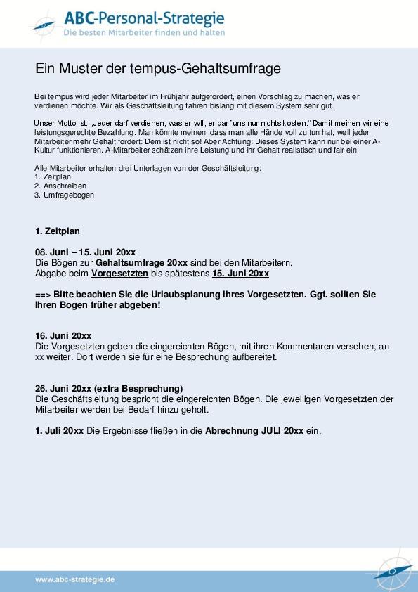 muster der tempus gehaltsumfrage - Personalbeurteilungsbogen Muster