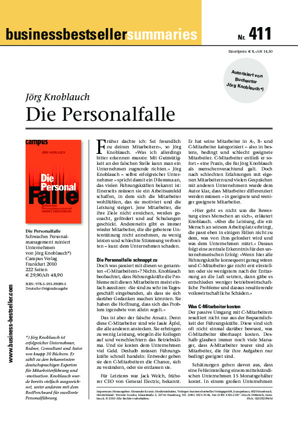 Zusammenfassung des Buches - Die Personalfalle (business bestseller)-thumbnail